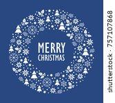 modern christmas card. merry... | Shutterstock .eps vector #757107868