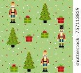 nutcracker  christmas tree and...   Shutterstock .eps vector #757113829