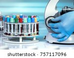 hand of technician calibrating... | Shutterstock . vector #757117096