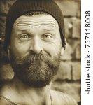 portrait of a man on a brick... | Shutterstock . vector #757118008