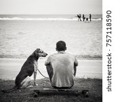 Small photo of Man sat on skateboard next to dog on beach.