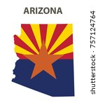 flag and map of arizona. vector ... | Shutterstock .eps vector #757124764