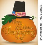 poster with giant pumpkin and a ... | Shutterstock .eps vector #757128538