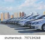 cars for sale stock lot row....   Shutterstock . vector #757134268