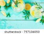 cold lemonade or alcohol vodka... | Shutterstock . vector #757136053