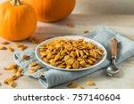 homemade roasted spiced pumpkin ... | Shutterstock . vector #757140604