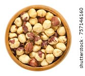 Roasted Hazelnuts In Wooden...