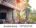 balcony of resort with lighting ... | Shutterstock . vector #757151719