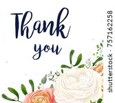 vector floral design card.... | Shutterstock .eps vector #757162258