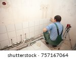 finishing works at renovated...   Shutterstock . vector #757167064