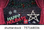 happy holidays background 3d... | Shutterstock . vector #757168036