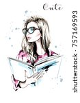 hand drawn beautiful woman with ... | Shutterstock .eps vector #757169593