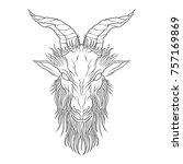 demon baphomet. satanic goat... | Shutterstock .eps vector #757169869