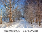 winter landscape with road | Shutterstock . vector #757169980