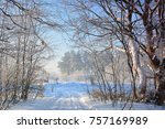 winter landscape with road | Shutterstock . vector #757169989