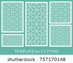 decorative panels set for laser ... | Shutterstock .eps vector #757170148