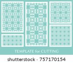 decorative panels set for laser ... | Shutterstock .eps vector #757170154