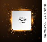 golden frame with lights... | Shutterstock .eps vector #757170520