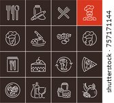 line food icons set  cooking | Shutterstock .eps vector #757171144