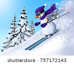 snowman descends from the... | Shutterstock . vector #757172143