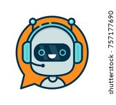 cute smiling funny robot chat... | Shutterstock .eps vector #757177690