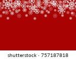 red snowflake horizontal... | Shutterstock .eps vector #757187818