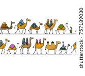 camels caravan  seamless... | Shutterstock .eps vector #757189030
