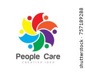 people care logo design | Shutterstock .eps vector #757189288