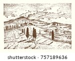 engraved hand drawn in old...   Shutterstock .eps vector #757189636