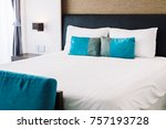 pillow on bed decoration in...   Shutterstock . vector #757193728