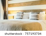 pillow on bed decoration in...   Shutterstock . vector #757193734