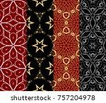 set of modern line art seamless ...   Shutterstock .eps vector #757204978
