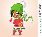 happy cartoon smiling afro... | Shutterstock .eps vector #757205188