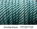 close up green nylon rope knot... | Shutterstock . vector #757207720