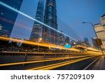 light trails in the downtown... | Shutterstock . vector #757209109