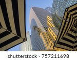 striped umbrella with nyc... | Shutterstock . vector #757211698