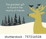 deer and bird friends perched... | Shutterstock .eps vector #757216528