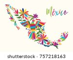 colorful mexican map in a... | Shutterstock .eps vector #757218163