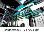 abstract dynamic interior with...   Shutterstock . vector #757221184