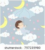 cute cartoon baby in the sky... | Shutterstock .eps vector #757235980