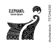 ornate elephant design | Shutterstock .eps vector #757246330