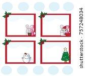 rabbit santa note vectors | Shutterstock .eps vector #757248034
