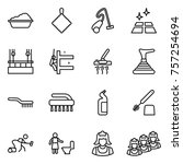 thin line icon set   washing ... | Shutterstock .eps vector #757254694