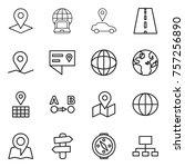 thin line icon set   pointer ... | Shutterstock .eps vector #757256890