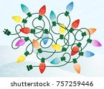 retro christmas lights tangle... | Shutterstock .eps vector #757259446