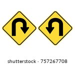 left   right u turn warning... | Shutterstock .eps vector #757267708