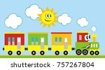 train set  three wagons... | Shutterstock .eps vector #757267804