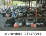 many cars parked in the parking ... | Shutterstock . vector #757277068