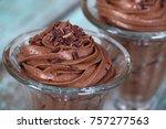 dark chocolate mousse dessert... | Shutterstock . vector #757277563
