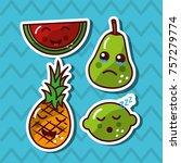 kawaii smiling fruits adorable... | Shutterstock .eps vector #757279774